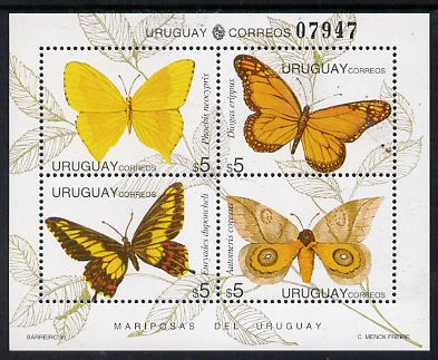 Uruguay 1995 Butterflies sheetlet containing set of 4 x $5 values unmounted mint