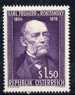 Austria 1954 150th Birth Anniversary of Baron Von Rokitansky (Anatomist) unmounted mint Mi 997