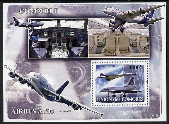Comoro Islands 2008 Concorde & Airbus perf s/sheet unmounted mint Michel BL447