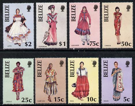 Belize 1986 Costumes perf set of 8 unmounted mint SG 887-94