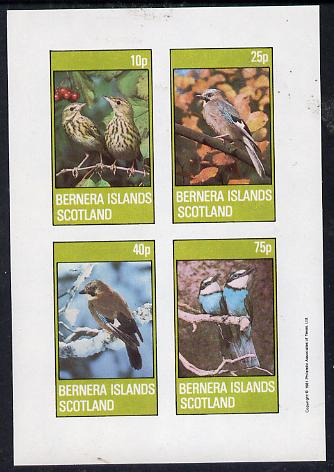 Bernera 1981 Birds #02 (Jay, Thrush, etc) imperf  set of 4 values (10p to 75p) unmounted mint