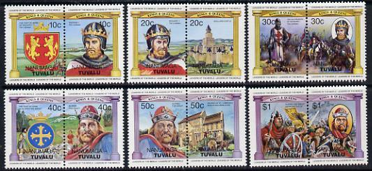 Tuvalu - Nanumaga 1984 Monarchs (Leaders of the World) Alfred & Richard I, set of 12 unmounted mint