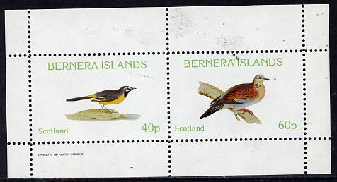 Bernera 1982 Birds #08 (Wagtail & Dove) perf  set of 2 values (40p & 60p) unmounted mint