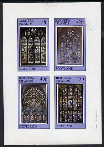Bernera 1981 Stained Glass Church Windows imperf  set of 4 values (10p to 75p) unmounted mint