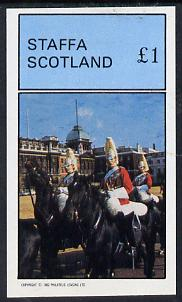 Staffa 1982 Horseguards imperf souvenir sheet (�1 value) unmounted mint