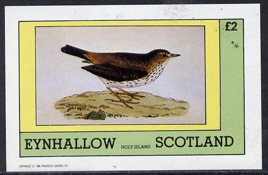 Eynhallow 1982 Thrush imperf deluxe sheet (�2 value) unmounted mint
