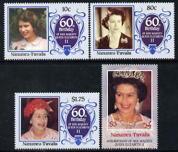 Tuvalu - Nanumea 1986 Queen Elizabeth 60th Birthday set of 4 unmounted mint