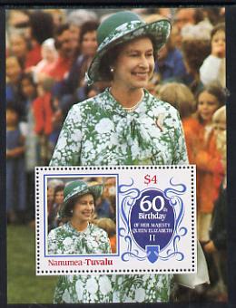 Tuvalu - Nanumea 1986 Queen Elizabeth 60th Birthday $4 m/sheet unmounted mint