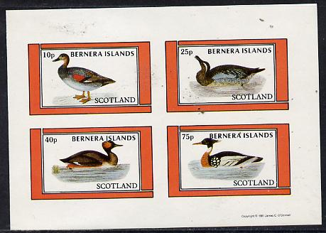 Bernera 1981 Ducks #3 imperf  set of 4 values (10p to 75p) unmounted mint