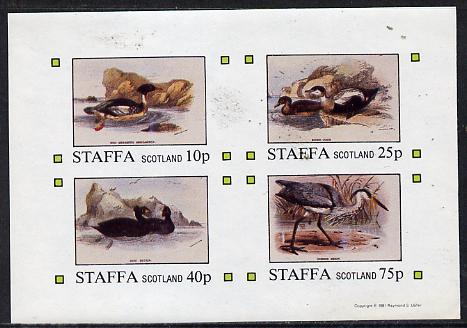 Staffa 1981 Water Birds #03 (Heron, etc) imperf  set of 4 values (10p to 75p) unmounted mint