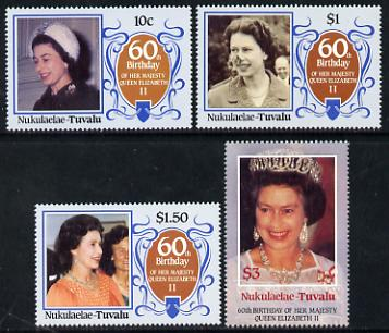 Tuvalu - Nukulaelae 1986 Queen Elizabeth 60th Birthday set of 4 unmounted mint
