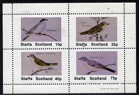 Staffa 1981 Birds #05 (Blackcap, Warbler, Whitethroat) perf  set of 4 values (10p to 75p) unmounted mint