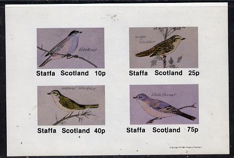 Staffa 1981 Birds #05 (Blackcap, Warbler, Whitethroat) imperf  set of 4 values (10p to 75p) unmounted mint