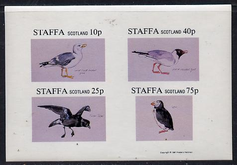 Staffa 1981 Sea Birds #02 (Gulls, Petrel & Puffin) imperf  set of 4 values (10p to 75p) unmounted mint