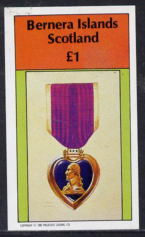 Bernera 1982 Purple Heart Medal imperf souvenir sheet (�1 value) unmounted mint