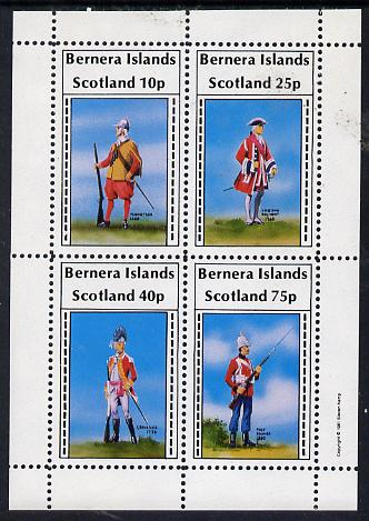 Bernera 1981 Early Military Uniforms perf  set of 4 values (10p to 75p) unmounted mint