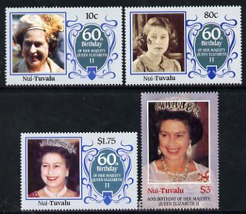 Tuvalu - Nui 1986 Queen Elizabeth 60th Birthday set of 4 unmounted mint