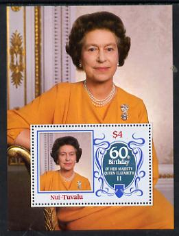 Tuvalu - Nui 1986 Queen Elizabeth 60th Birthday $4 m/sheet unmounted mint