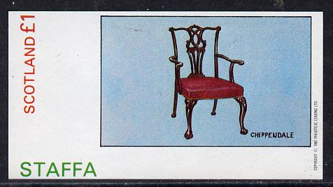 Staffa 1982 Antique Chairs (Chippendale) imperf souvenir sheet (�1 value) unmounted mint