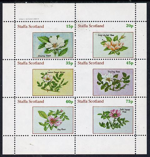 Staffa 1982 Roses #4 perf set of 6 values (15p to 75p) unmounted mint, stamps on flowers    roses
