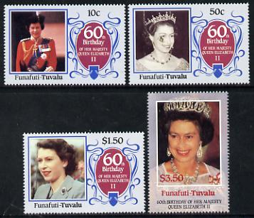Tuvalu - Funafuti 1986 Queen Elizabeth 60th Birthday set of 4 unmounted mint