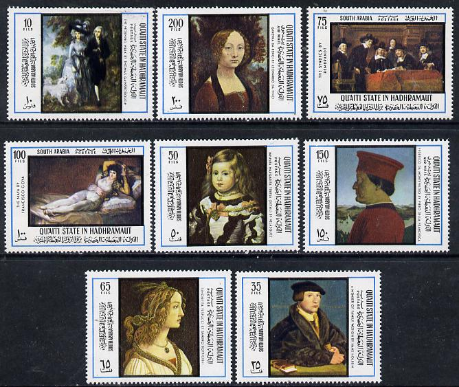 Aden - Qu'aiti 1967 International Tourism Year (Paintings) perf set of 8 unmounted mint, Mi 169-76A