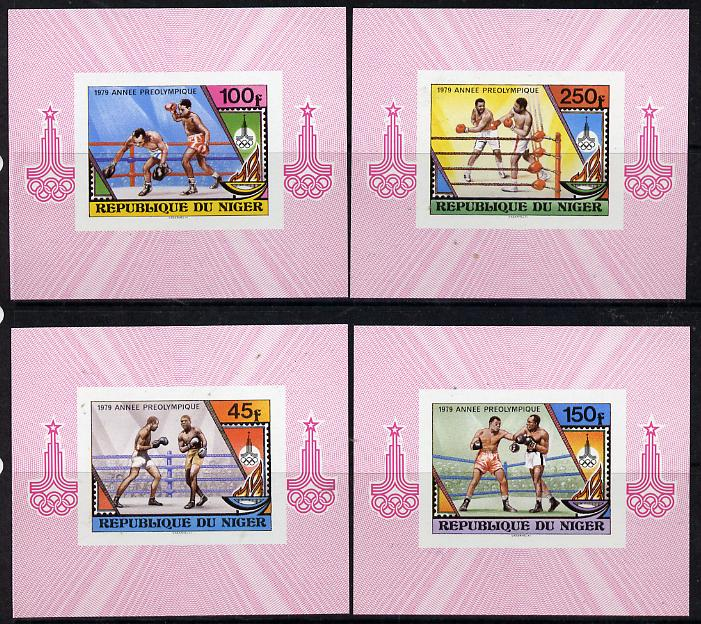 Niger Republic 1979 Pre-Olympics (Boxing) set of 4 imperf deluxe miniature sheets unmounted mint