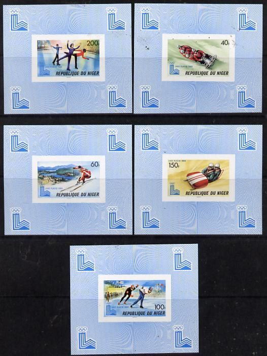 Niger Republic 1980 Winter Olympics set of 5 imperf deluxe miniature sheets unmounted mint