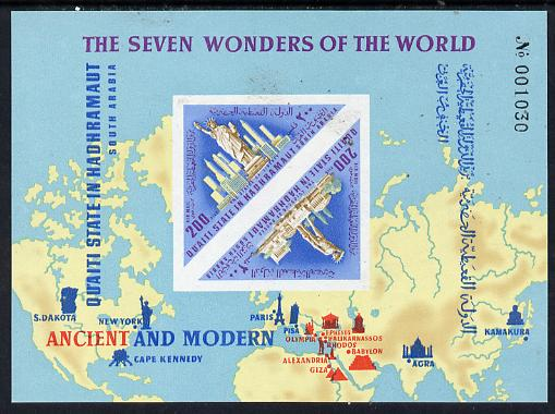 Aden - Qu'aiti 1967 Wonders of the World (Map, Statue of Liberty) imperf miniature sheet (Mi BL 23B) unmounted mint