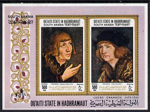 Aden - Qu'aiti 1967 Paintings by Cranach perf m/sheet unmounted mint (Mi BL 18A)