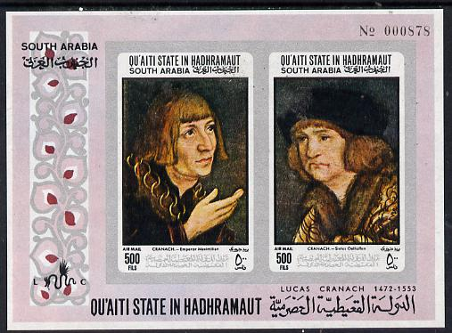 Aden - Qu'aiti 1967 Paintings by Cranach imperf m/sheet unmounted mint (Mi BL 18B)