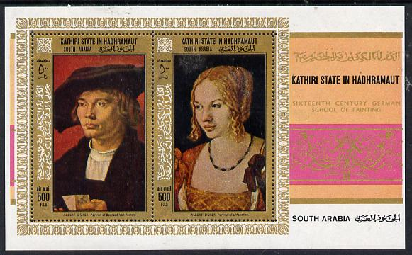 Aden - Kathiri 1968 Paintings by Durer perf miniature sheet unmounted mint (Mi BL 21A)