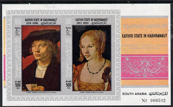 Aden - Kathiri 1968 Paintings by Durer imperf miniature sheet unmounted mint (Mi BL 21B)