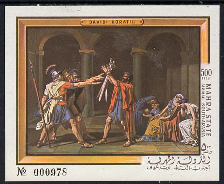 Aden - Mahra 1967 David The Horatii imperf m/sheet unmounted mint (Mi BL 5B)