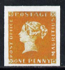 Mauritius 1847 Post Office 1d orange-red  'Maryland' imperforate forgery on gummed paper as SG1.  The word Forgery is printed on the back and comes on a presentation card with descriptive notes.  It is generally believed that fifteen examples of the 1d have survived of which only two are unused (currently catalogued at �1,300,000).  Most of the 15 are now in permanent museum collections.