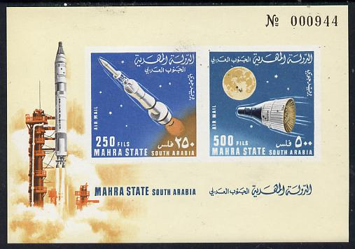 Aden - Mahra 1967 Rockets imperf m/sheet unmounted mint, Mi BL 6B, stamps on space