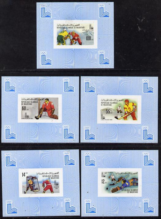 Mauritania 1980 Winter Olympics (Ice Hockey) set of 5 deluxe miniature sheets unmounted mint, stamps on olympics       ice hockey