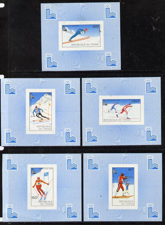 Chad 1980 Winter Olympics set of 5 imperf deluxe miniature sheets (Skiing, Cross Country)