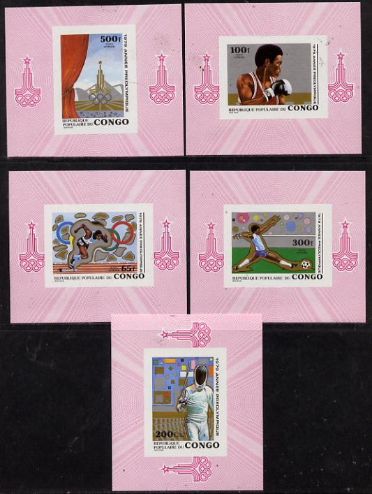 Congo 1979 Olympics set of 5 imperf deluxe miniature sheets (Boxing, Fencing, Running, Football) unmounted mint