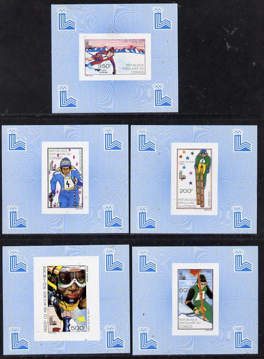 Congo 1980 Winter Olympics set of 5 imperf deluxe miniature sheets (Skiing) unmounted mint