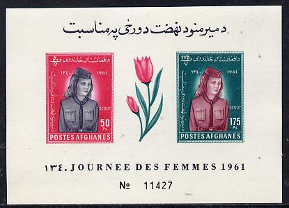 Afghanistan 1961 Womens Day (Tulip & Girl Guide) imperf m/sheet unmounted mint