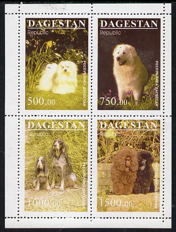 Dagestan Republic 1996 Dogs #2 perf sheetlet containing 4 values unmounted mint, stamps on animals, stamps on dogs, stamps on maltese, stamps on retriever, stamps on cocker, stamps on poodle
