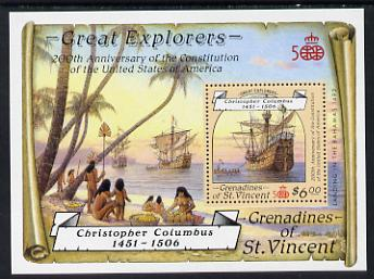 St Vincent - Grenadines 1988 Explorers the unissued $6 m/sheet (Santa Maria) unmounted mint.