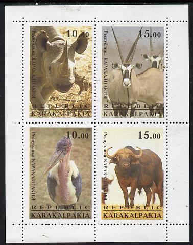 Karakalpakia Republic 1996 Animals #1 perf sheetlet containing 4 values unmounted mint