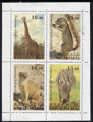 Karakalpakia Republic 1996 Animals #2 sheetlet containing 4 values unmounted mint