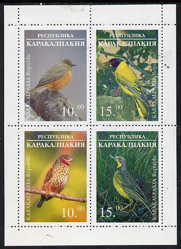 Karakalpakia Republic 1996 Birds #2 sheetlet containing 4 values