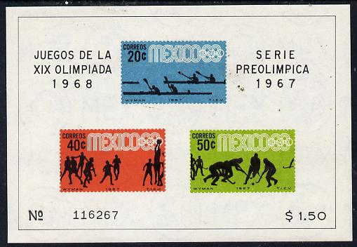 Mexico 1967 Olympic Games (3rd Issue - Postage) imperf m/sheet showing Canoeing, Basketball & Hockey unmounted mint, SG MS 1145a