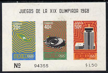 Mexico 1968 Olympic Games imperf m/sheet showing Dove, Stadium & Telecom Tower unmounted mint