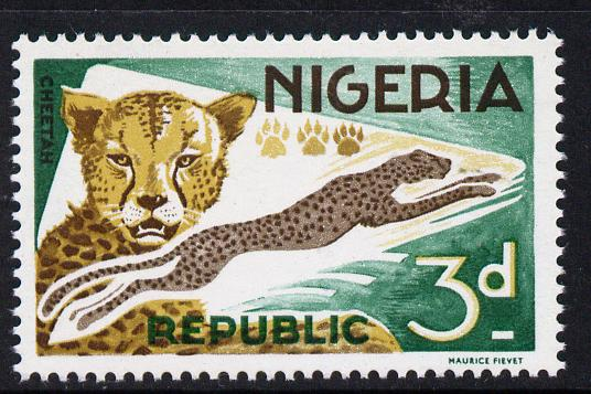 Nigeria 1965-66 Cheetah 3d from Animal Def set unmounted mint SG 176*