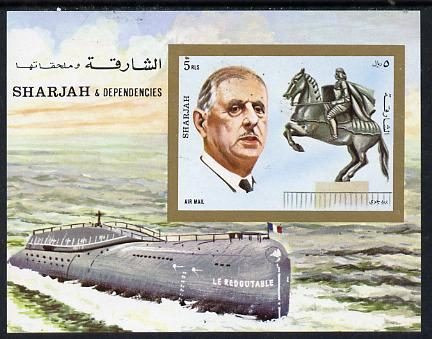 Sharjah 1972 Charles de Gaulle imperf m/sheet (with Statue of Joan of Arc & Le Redoutable Submarine) unmounted mint Mi BL 95